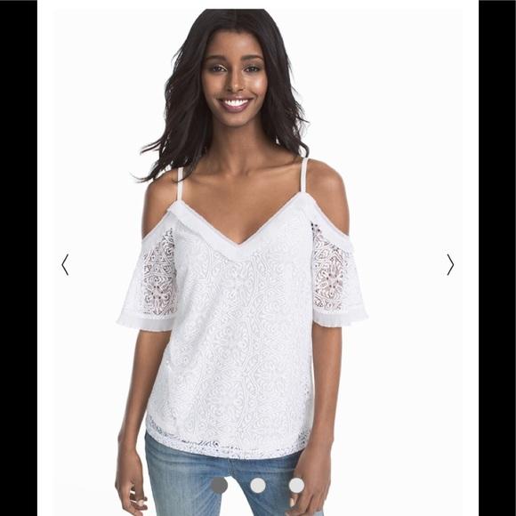 5a1dfa8a2e422 WHBM White Lace Cold Shoulder Top. M 5b708db3e9ec898ae2fd8d08